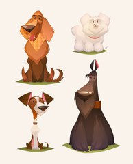 Dog characters. Cartoon vector illustration.