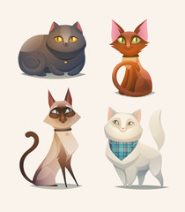Cat characters. Cartoon vector illustration.