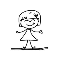 hand drawing happy kids