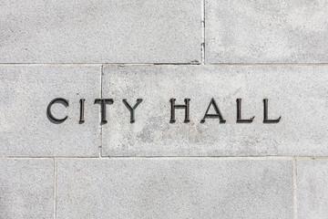 Granite Wall CIty Hall Sign
