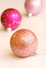 Pink glitter christmas balls, soft tone