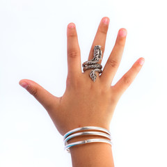 Silver bracelets and ring