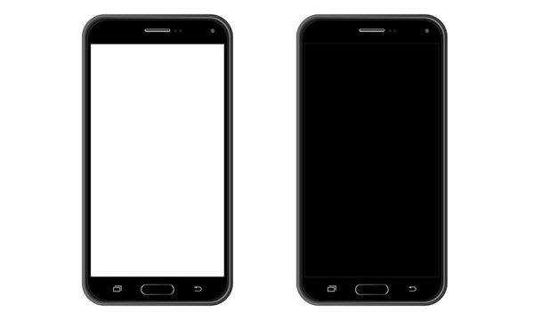 Smartfon z białym/czarnym ekranem - widok wertykalny