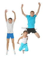 Two boys and girl exercising