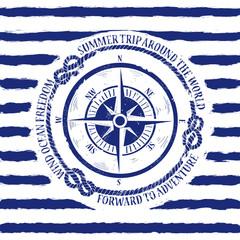 Nautical emblem with compass