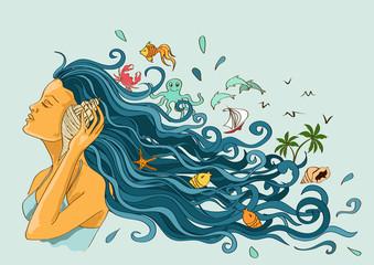 Illustration with girl listening seashell