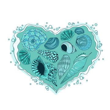 Illustration with heart of seashells