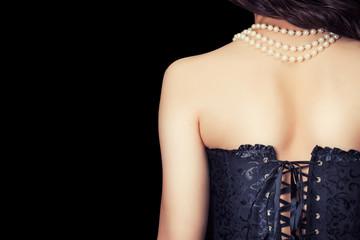 woman wearing black corset Wall mural