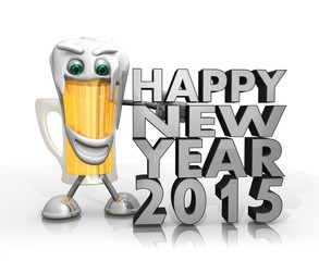beer character presents happy new year symbol