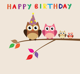 vector happy birthday card with owl family