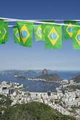 Brazilian Flag Bunting Rio de Janeiro Skyline Scenic Overlook