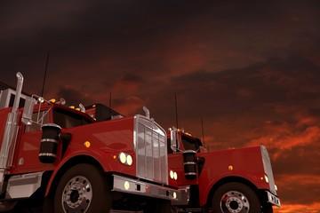 Semi Trucks and Stormy Sky