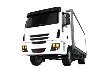 White Cargo Truck Isolated