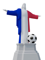 Christ the Redeemer colored with French flag and soccer bal