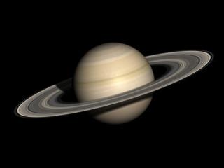 Saturn isolated on black.