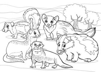 mustelids animals cartoon coloring page