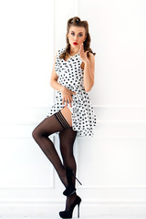 Pinup. Girl in cute dress