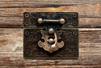old wooden chest with lock