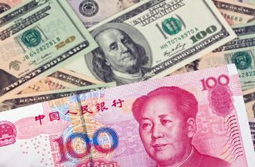 China Geld Yuan und Dollar