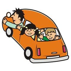 orange car and family