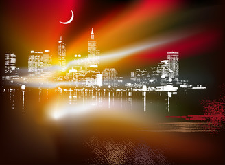 Abstract background with urban skyline. Vector illustration.