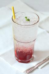strawberry soda on white background