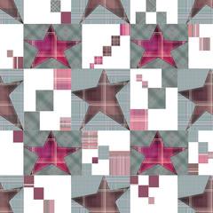 Seamless checkered kids patchwork stars pattern