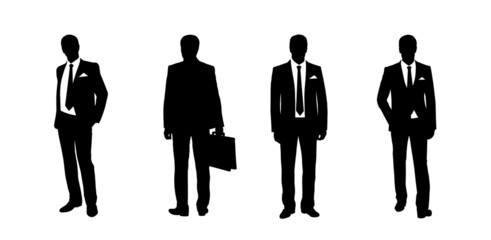 businessman standing silhouettes set 3