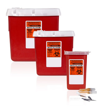 Three Sharps Containers Horizontal With Sharp Waste
