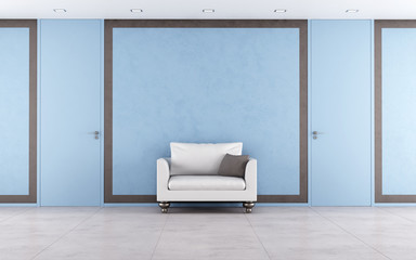 Blue and brown interior
