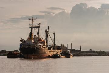 Ship in Choa Praya river, Bangkok Thailand