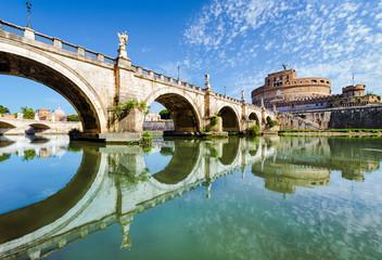 Poster de jardin Rome Bridge and castle Sant Angelo, Rome
