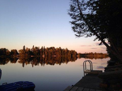 summer michigan sunset at the lake