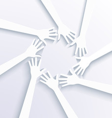 Business hands showing team concept. 3D white vector