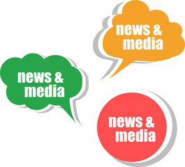 news and media. Set of stickers, labels, tags. infographics