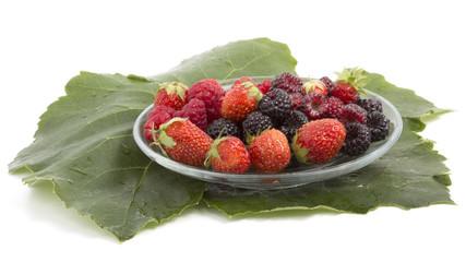 fresh raspberries blackberries and strawberries