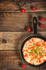 traditional turkish omelet menemen with tomatoes