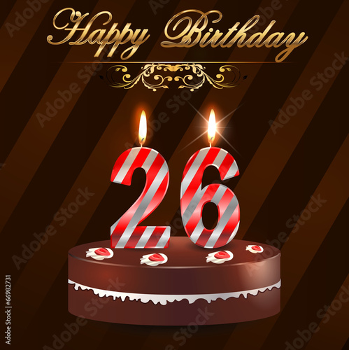 26 Year Happy Birthday Card With Cake And Candles Stock Image And