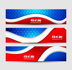 4th of july independence day background three header set Vector