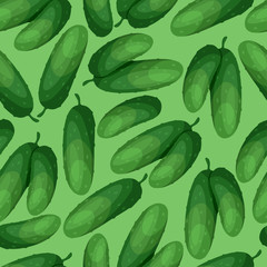 Seamless vector pattern with fresh ripe cucumbers.