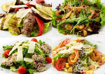 collage hot salads their veal, beef, shrimp, chicken