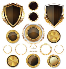 Shields, golden labels and larel wreaths collection