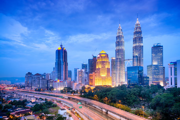 Aluminium Prints Kuala Lumpur Night view of Kuala Lumpur skyline.