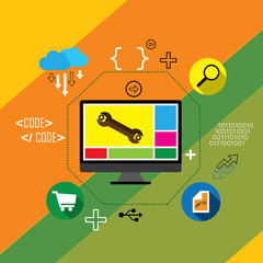flat design vector app development, coding & programming