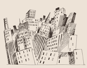 big city, architecture, engraved illustration, sketch
