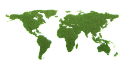 green Global map, isolated on a white