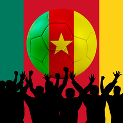 Mass cheering with Cameroon Soccer ball