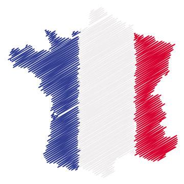 Carte de France design et drapeau français.
