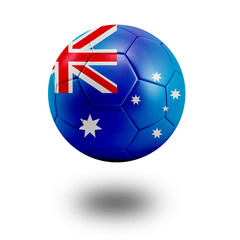 Soccer ball with Australia flag isolated in white