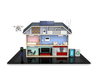 Smart house concept with energy efficient appliance(no text)
